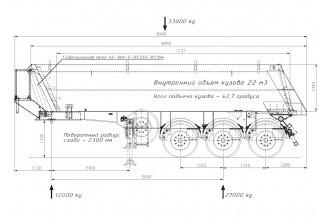 Meusburger SK-345 22m3 Самосвальный полуприцеп
