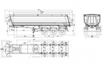 Bodex KIS 3WS2 HALF PIPE 30-35 m3 полуприцеп самосвальный стальной