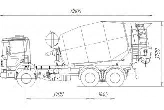 Tigarbo 9DO на шасси Scania P380CB6x4EHZ Автобетоносмеситель